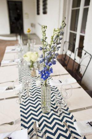 Mariage - Sale Navy and White Chevron Table Runner