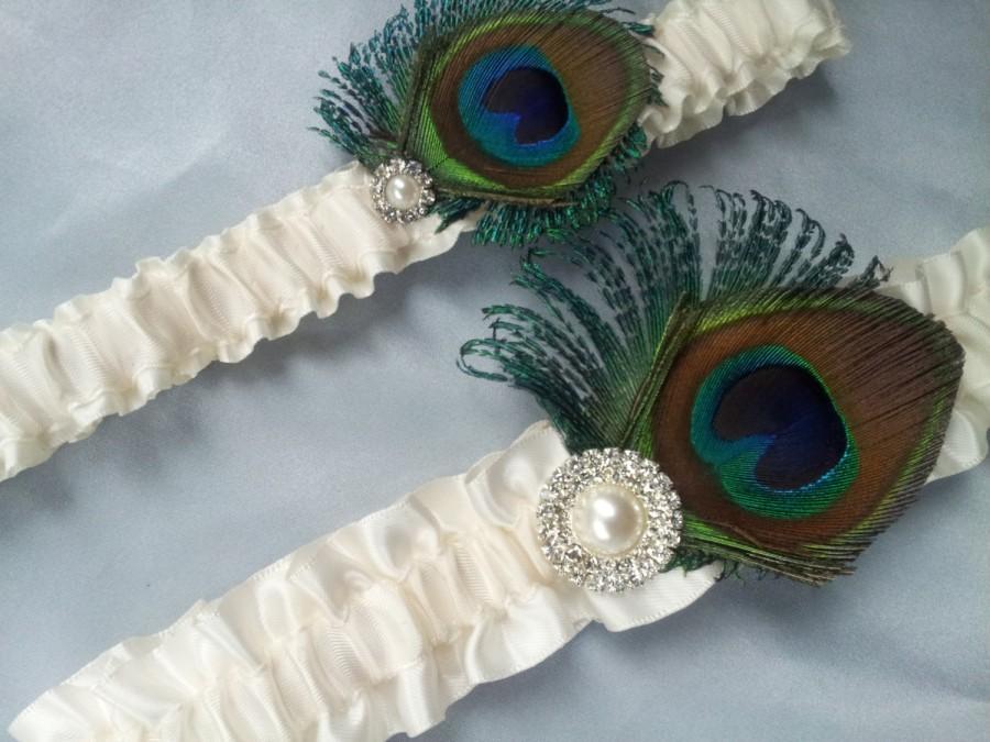 Hochzeit - Ivory Peacock Garter Set Pearl Rhinestone Accented Sheer Peacock Feather Bridal Wedding Garter Set