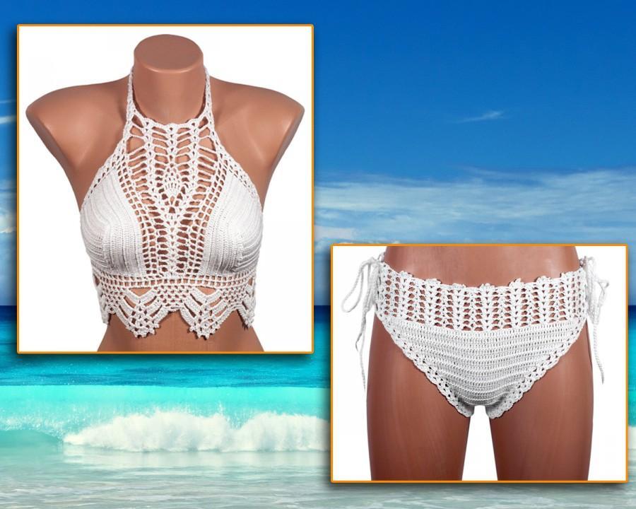 Свадьба - Crochet bikini, WHITE Swimsuit, Summer trends, LoveKnittings