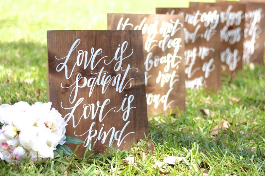 1 Corinthians 13 Wedding Aisle Signs Love Is Patient Love Is Kind Rustic Wedding Signs Set