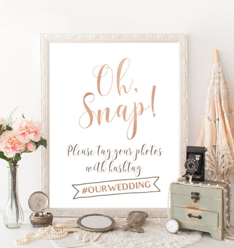 Hochzeit - Rose gold hashtag sign Summer wedding Hashtag wedding sign  Rose gold wedding hashtag sign Oh snap wedding sign hash tags Custom signage