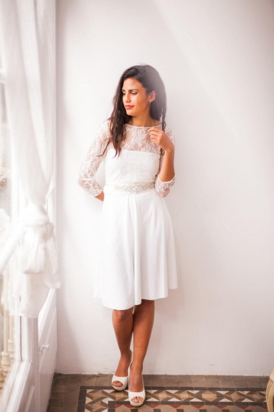 Short wedding dress with long lace sleeves high cut for Wedding dress for a short bride