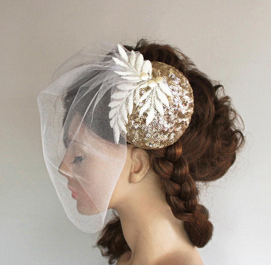 c0e45fd345892 Bridal Hat Fascinator Gold Sequined Sparkle Birdcage Veil Applique Lace  Modern Wedding Unusual Handmade. Unique Item.