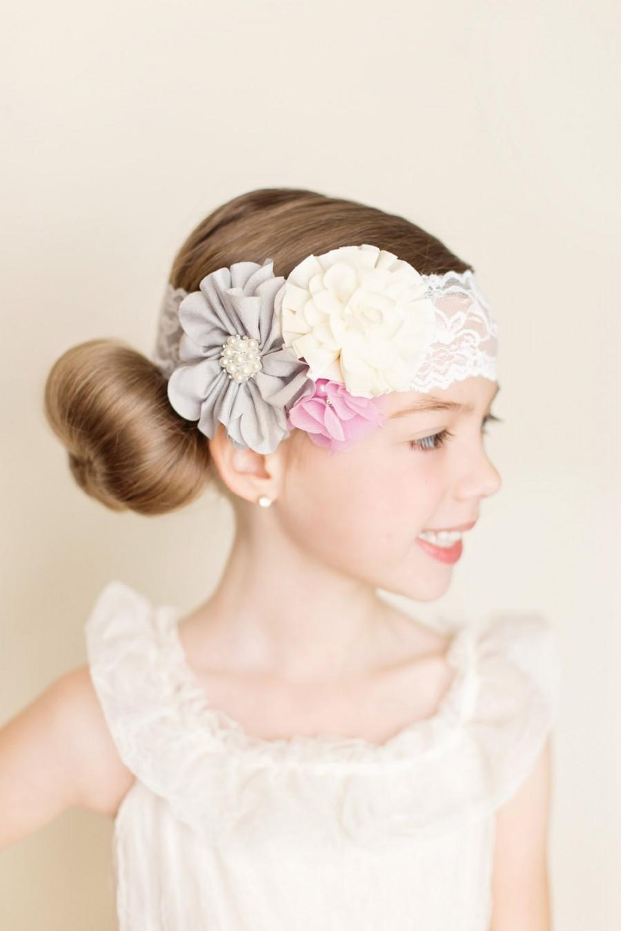 Hochzeit - Violet Blush Headband, Flower Girl Headband, Ivory Violet Grey, Ivory Pearl Headband, Romantic Hair, Bridal Hair, Wedding Headband