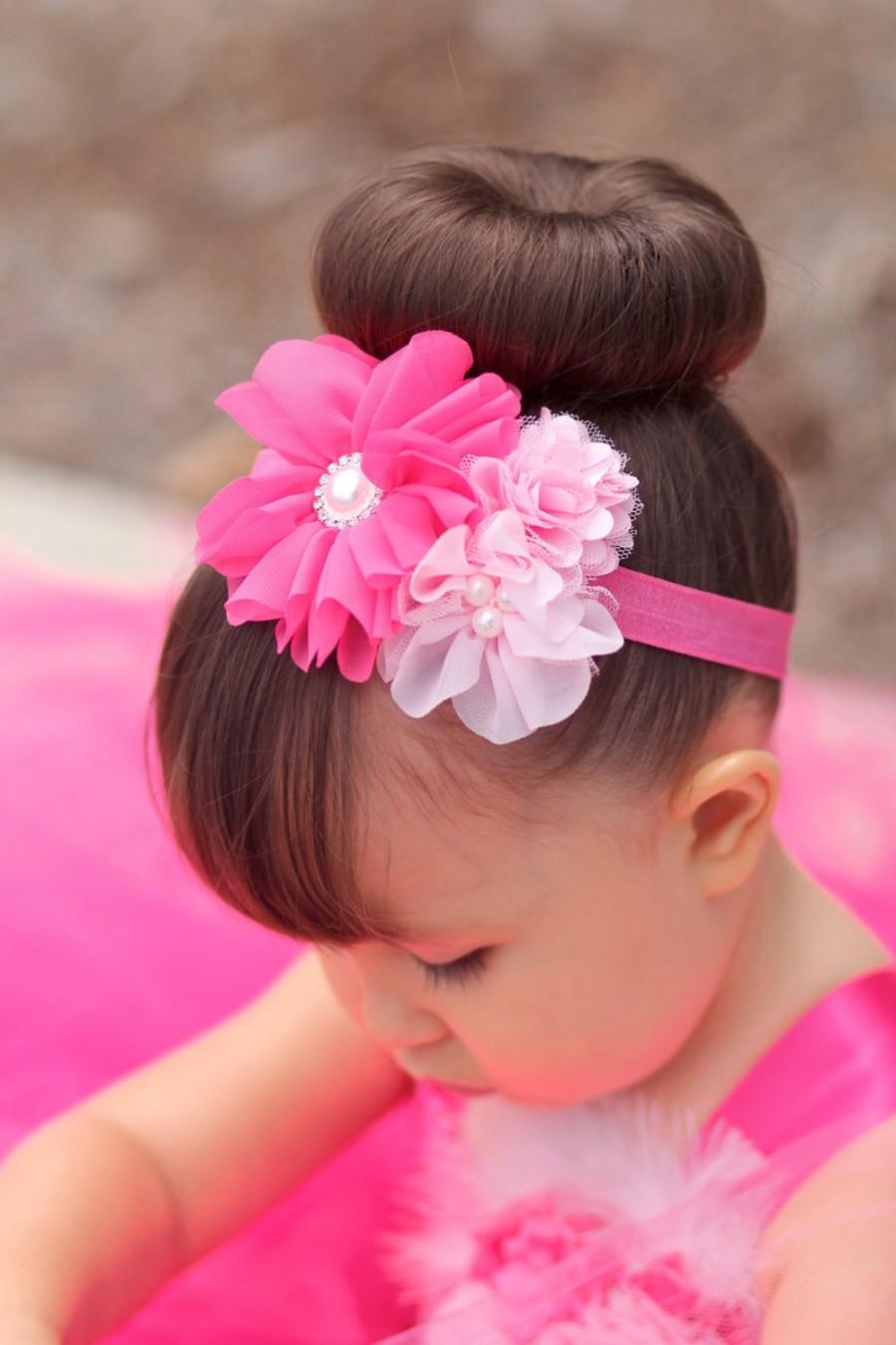 Pink Bridal Headband Flower Girl Headband Hot Pink Headband Pink