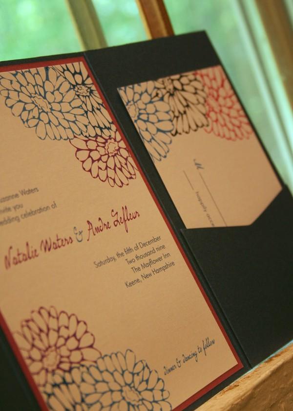 Hochzeit - Pocketfold Floral Mums Wedding Invitation Set - Deposit to get started