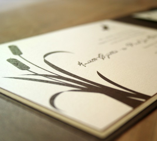 Mariage - Cattail and Dragonfly Pocketfold Wedding Invitation - Deposit to get started