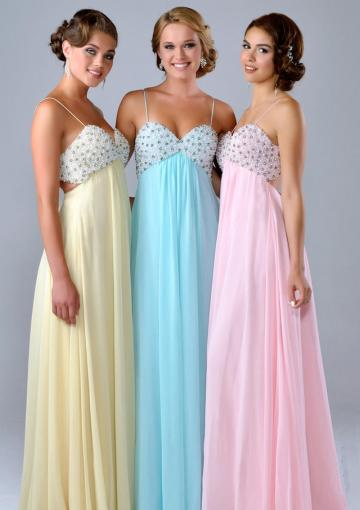 Свадьба - Blue Pink Yellow A-line Spaghetti Straps Sleeveless Beads Ruched Chiffon Floor Length