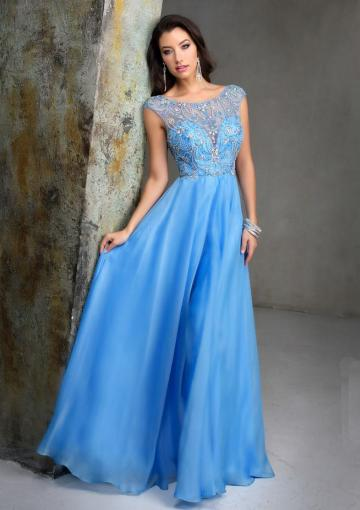 Wedding - Scoop A-line Sleeveless Blue Ruched Crystals V-back Chiffon Floor Length