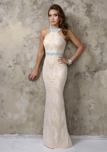 Mariage - Sheath Halter Beads Sleeveless Open Back Lace Floor Length