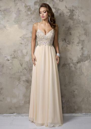 Свадьба - Ruched A-line Spaghetti Straps Sleeveless Champagne Beads Zipper Chiffon