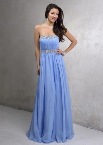 Hochzeit - Blue A-line Strapless Sleeveless Beads Ruched Open Back Chiffon Floor Length
