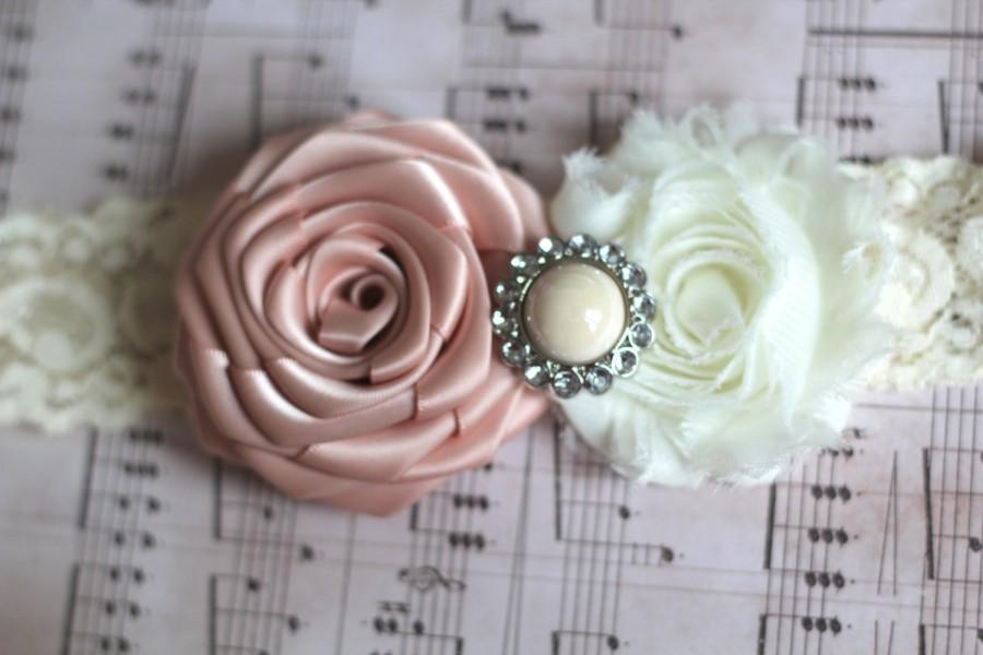 Hochzeit - LOLA: Moonstone Pink Wedding Garter. Ivory Lace Garter. Shabby Chic Garter. Satin Rolled Flowers. Rhinestone Pearl.