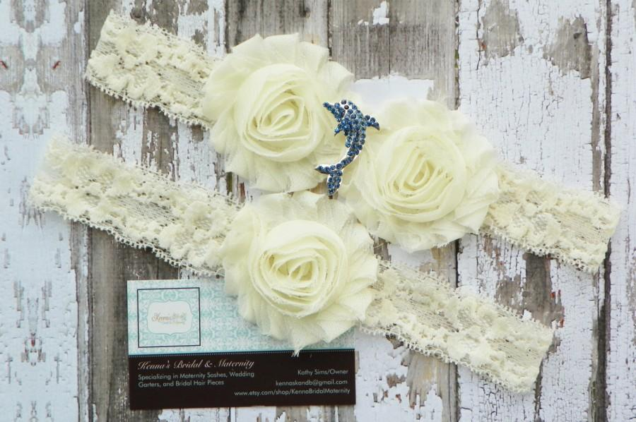 Hochzeit - Dolphin Wedding Garters, Porpoise Garter Set, Rhinestone Dolphin, Beach Wedding, Destination Wedding, Ivory Lace Garter, Ocean Wedding, Blue
