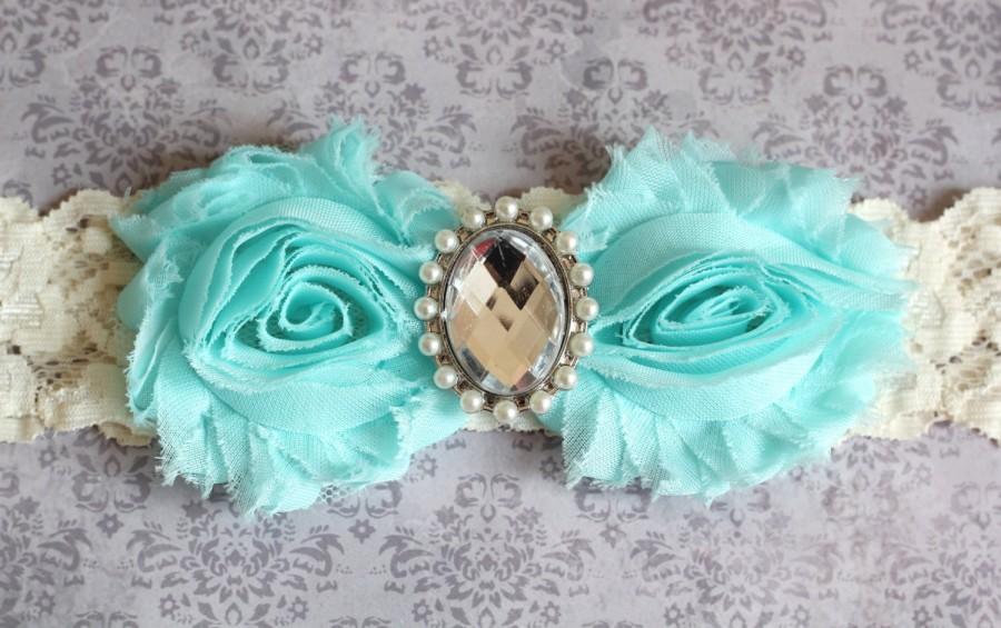 Свадьба - GINA: Aqua Blue Wedding Garter. Ivory Lace Garter. Shabby Chic Garter. Crystal & Pearl Button. Something Blue.