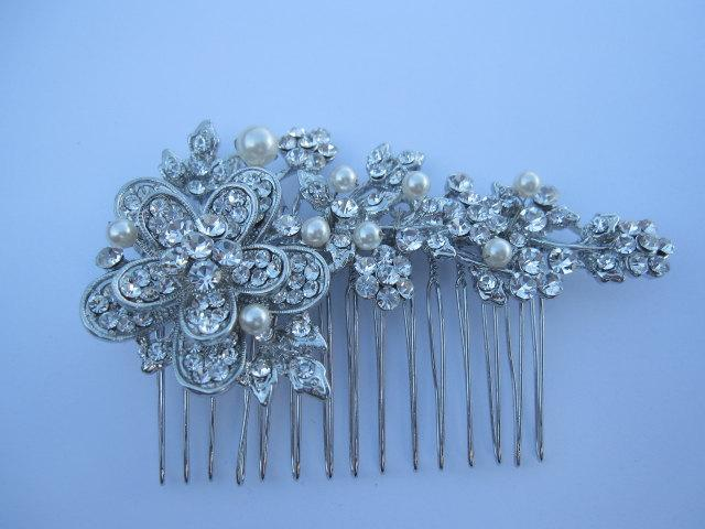 Mariage - Pearl bridal hair comb wedding comb wedding hair comb wedding hair accessories wedding hairpiece wedding hair flower wedding hair jewelry