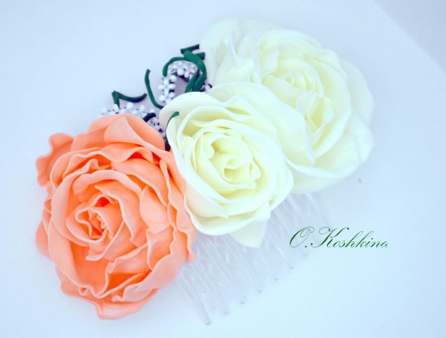 Mariage - Peach rose comb. Hair accessories bridal, For women, Hair comb, White wedding, Bridal comb , Floral hair comb, Hair piece, Peach flowers.