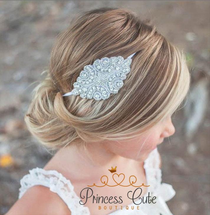 Mariage - Flower Girl Rhinestone Headband, Flower Girl Hair Accessory