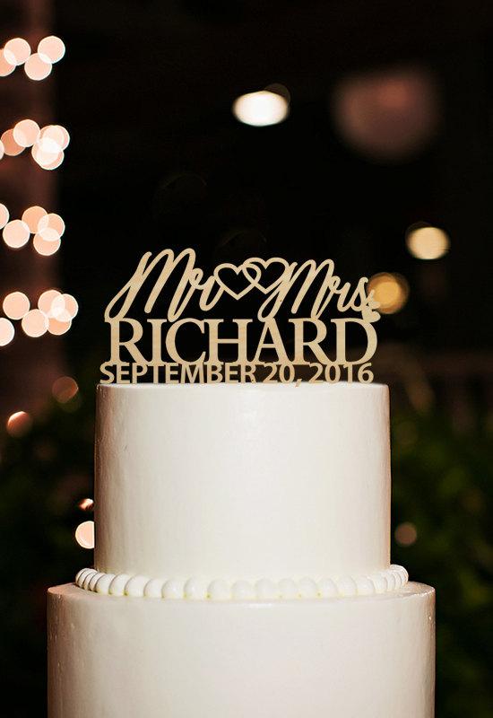 Свадьба - Wedding cake topper-mr and mrs cake topper-personalized wedding date cake topper-rustic wedding cake topper-custom last name wood topper