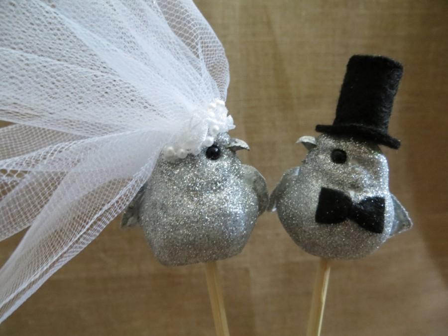 Wedding - Silver Love Bird Wedding Cake Topper, Wedding Bird Cake Topper, 25th Anniversary Cake Topper, Rustic Cake Topper