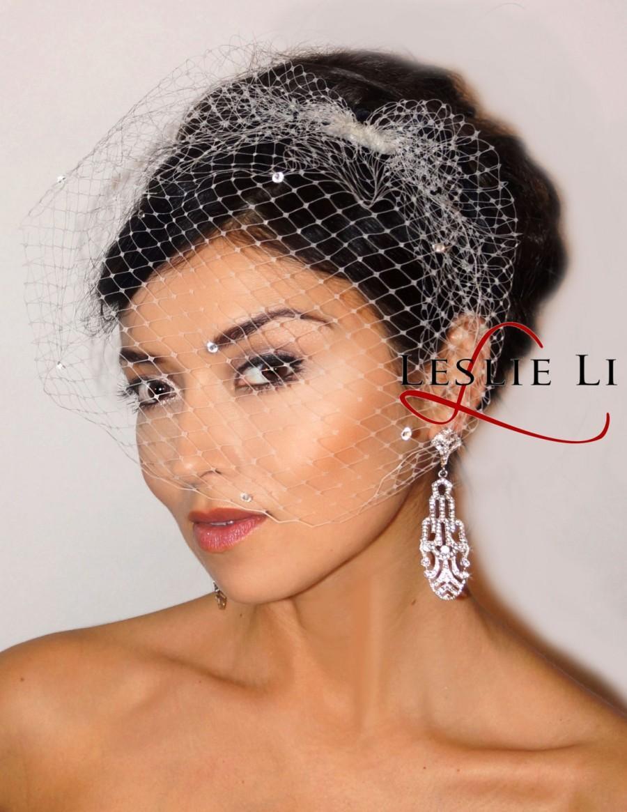 Mariage - Leslie Li Zoey Style Crystal Bridal Birdcage Veil 27