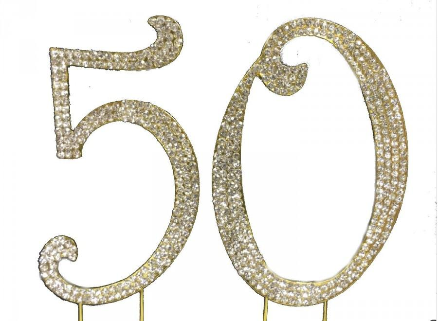 Crystal Cake Toppers Gold 50th Anniversary Cake Topper 50th Birthday