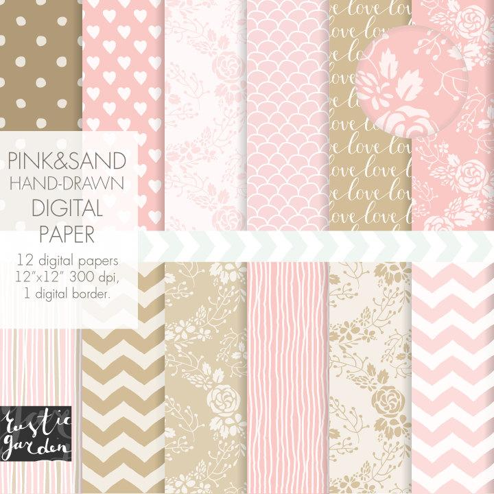 Hochzeit - Soft pink wedding digital paper. Sand and blush chevron, striped, heart, floral wreath digital paper. Lovely wedding patterns with flowers.