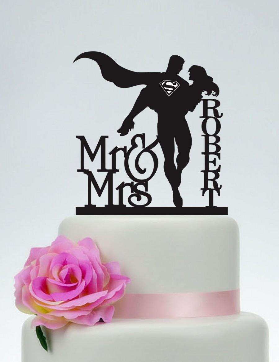 Hochzeit - Wedding Cake Topper,Mr and Mrs Cake Topper With last name,Superman and Bride Cake Topper,Custom Cake Topper,Super Hero Wedding C132