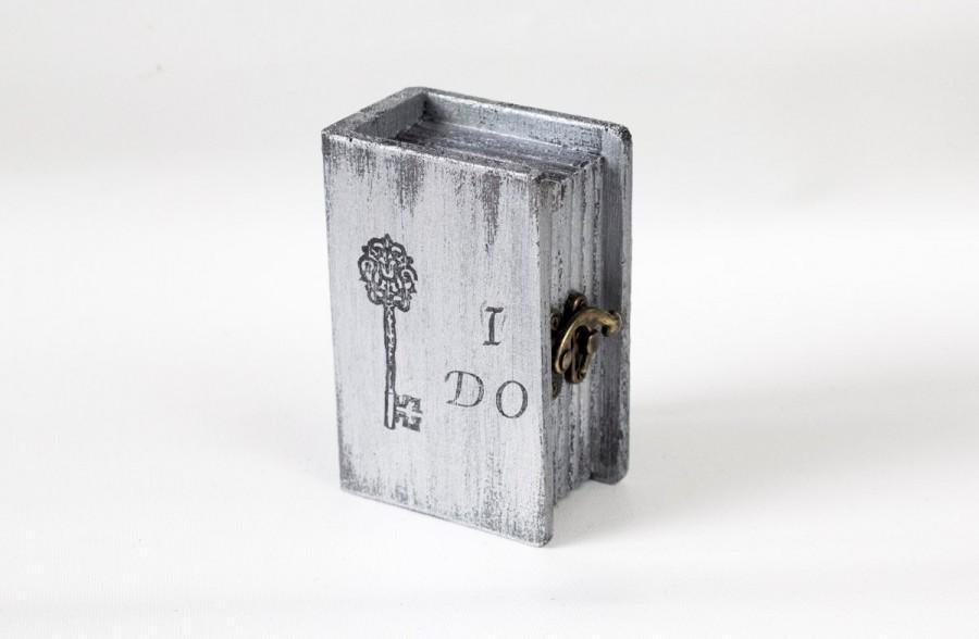 Hochzeit - Wedding Ring Box, Ring Bearer Box, Pillow Alternative, Grey Ring Bearer Box, I Do Personalized Ring Bearer Box, Wedding Ring Holder