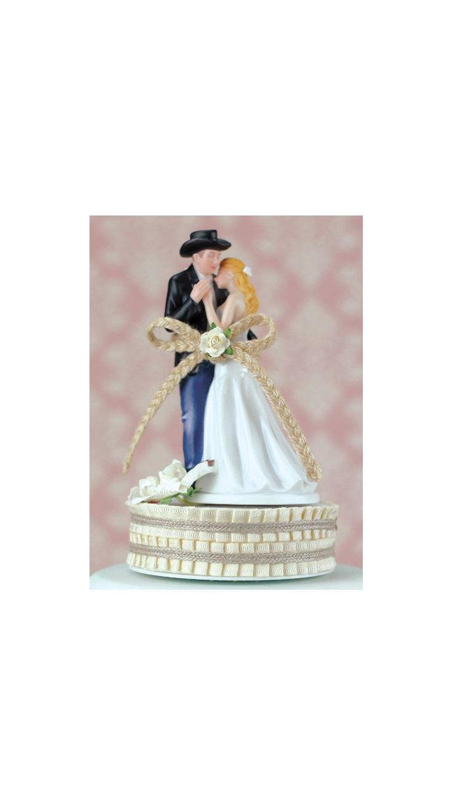 Mariage - Lasso of Love Western Wedding Cake Topper - Custom Painted Hair Color Available - 100061