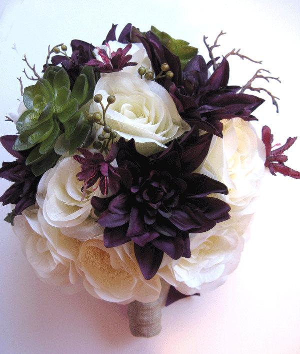 "Mariage - Wedding Bouquet Bridal Silk flower EGGPLANT PLUM GREEN Succulent 17 pcs Package flowers arrangements centerpieces ""RosesandDreams"""