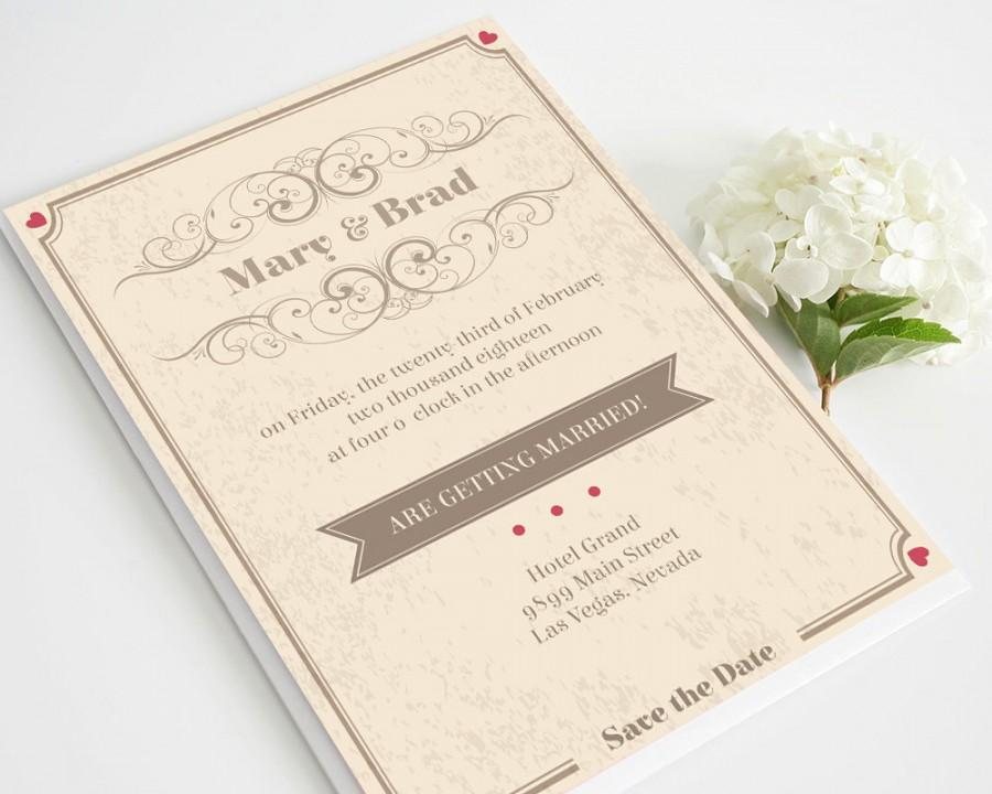 retro wedding invitation template download instantly edit yourself