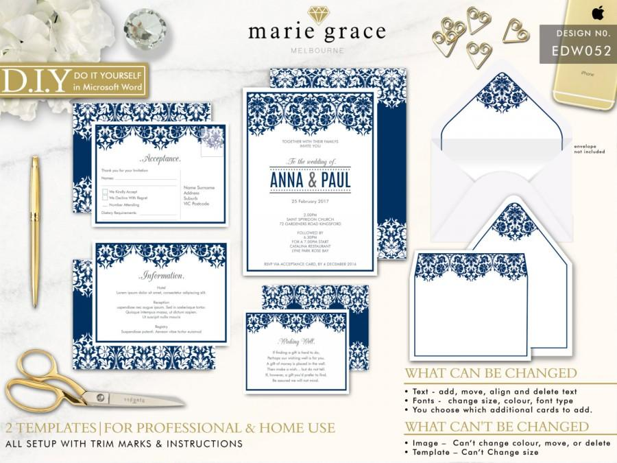 Navy Wedding Invitation, DIY Wedding Stationery Template ...