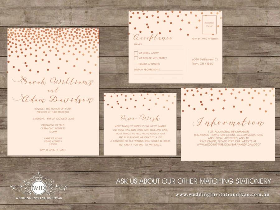 Rose Gold Confetti Wedding Invites, Square Floral Wedding Printable ...
