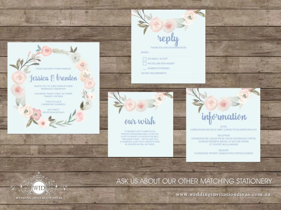 Wedding - Blue Waterflowers, light Blue floral Wreath Wedding Invitation Printable Template