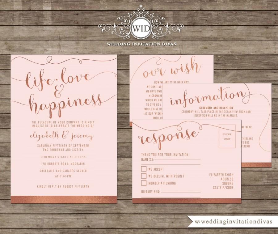 Mariage - Wedding Invitation Printable Template Set, Rose Gold Foil & Roses Quartz Scripted Unique Invite
