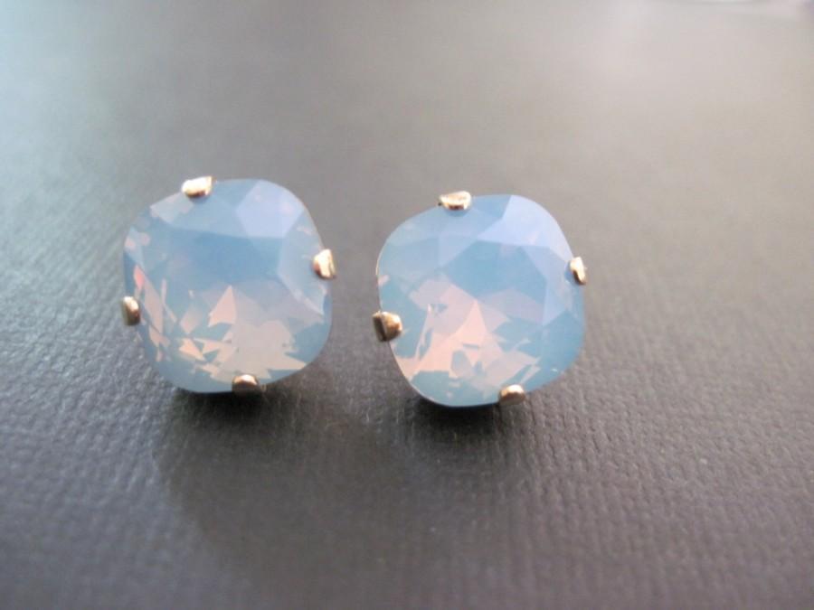 Свадьба - Blue Opal Crystal Earrings/Swarovski Crystal Studs/Swarovski Earrings/Square Crystal Studs/Bridesmaid Earrings
