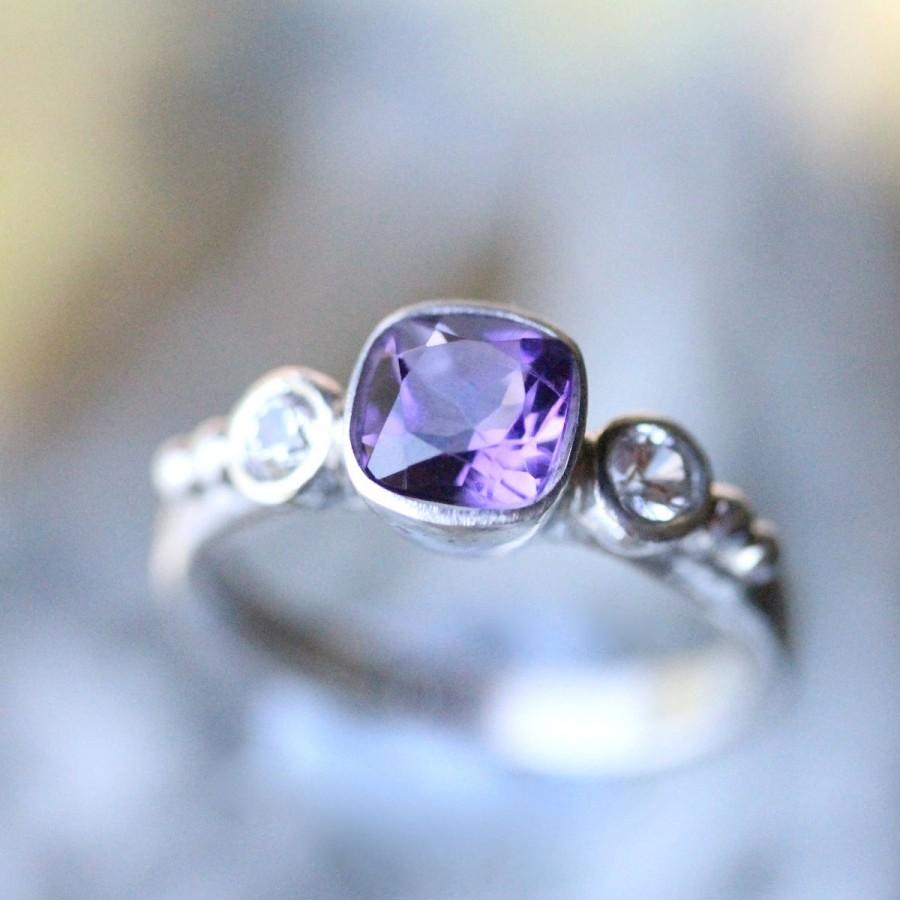 Свадьба - Deep Purple Amethyst And White Sapphire Sterling Silver Ring, Gemstone Ring, Three Stones Ring, Engagement Ring, Stacking Ring-Made To Order