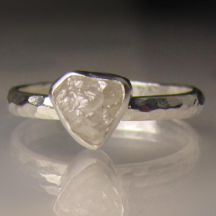 Свадьба - Raw Diamond Ring, White Rough Diamond Engagement Ring, Hammered Rough Diamond Ring, Palladium Sterling