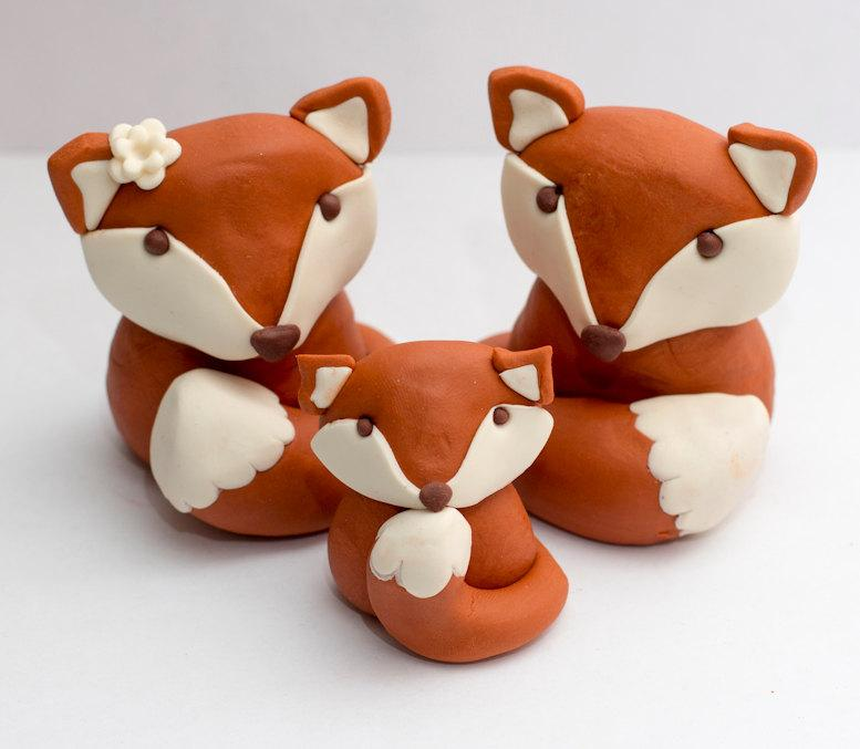 Mariage - Fondant fox cake toppers - Ready to ship in 1-2 weeks