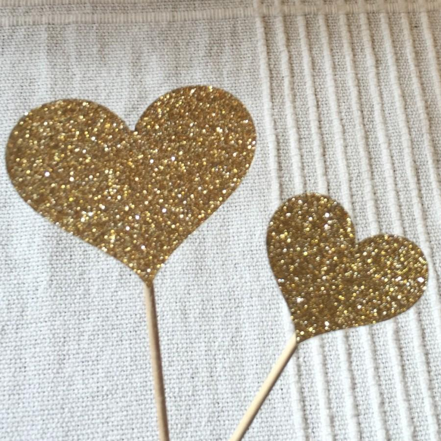 Mariage - 120 Cupcake Toppers Large & Small Sparkling GOLD HEARTS Wedding Cake Decorations
