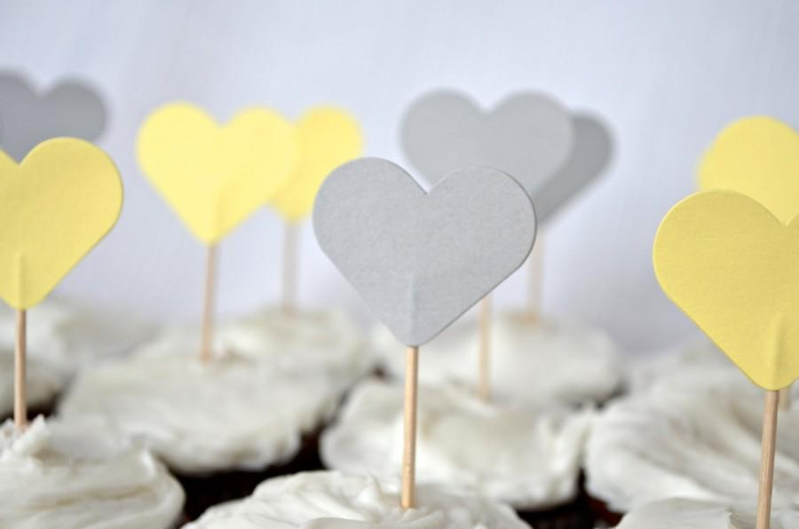 Mariage - 12 Gray and Yellow Heart Cupcake Picks, custom colors available