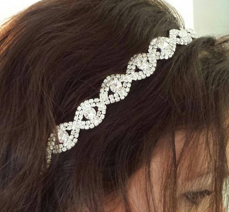 "Hochzeit - Rhinestone Bridal Hair Accessory - ""DARICE"" -  On Satin Ribbon, Headband or Combs"