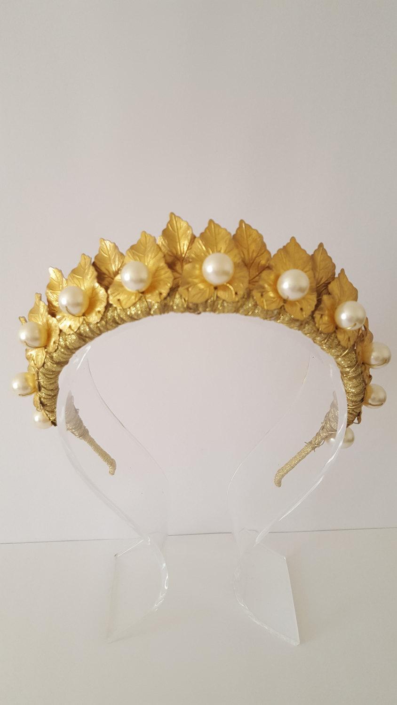 Wedding - Gold CrownTiara, Leaf Halo, Gold Leaf Headpiece, Hair Accessory, bridal tiara, Leaf Headband, Woodland, bohemian