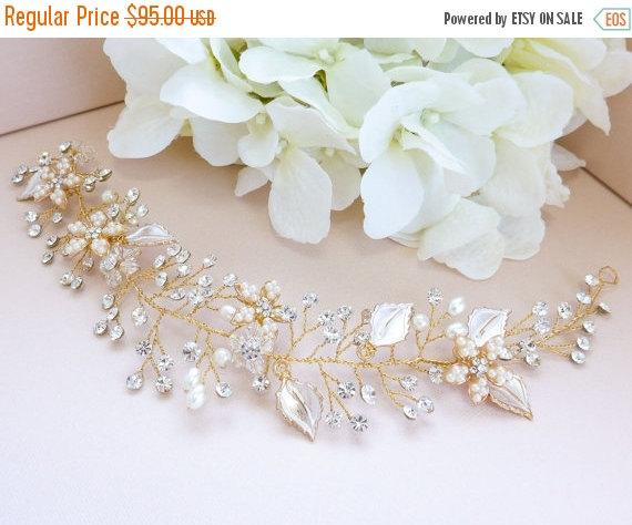 زفاف - SALE 35% OFF Boho Wedding Hair Crown Hair Vine, Flower Bridal Headband, Gold Silver Wire Hair Halo Wrap, Forehead band, Hair Wreath, Bridal