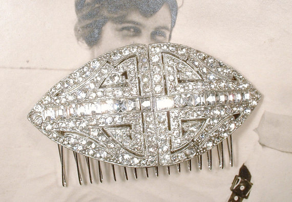 Mariage - Antique 1920s Bridal Hair Comb, Art Deco Pave Rhinestone Crystal Large Hairpiece, Old Hollywood Glamour Headpiece, Gatsby Wedding Hair Piece