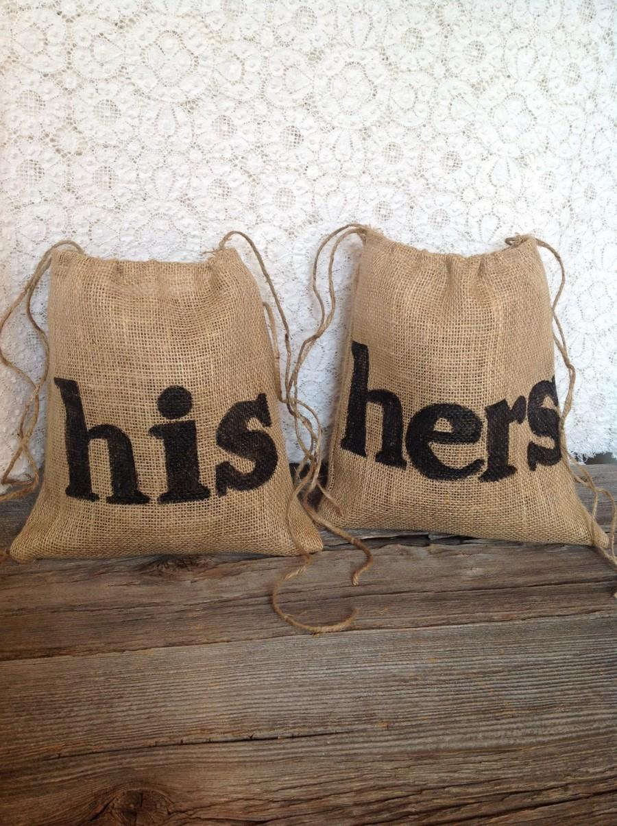 Wedding - His and Hers Dollar Dance Bags, Gift for Couple, Burlap Wedding, Drawstring Bag, Rustic Wedding, Wedding Dance, Bridal Shower Gift, Woodland