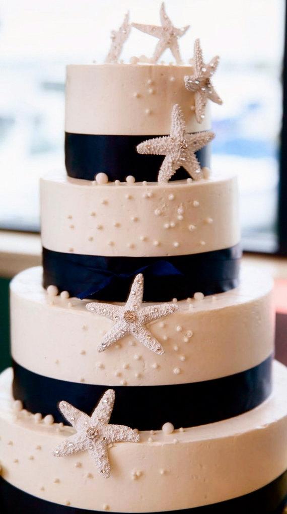 Mariage - Beach Wedding Cake Decoration - Starfish with Swarovski Crystals - Set of 3 - starfish decoration, beach wedding cake