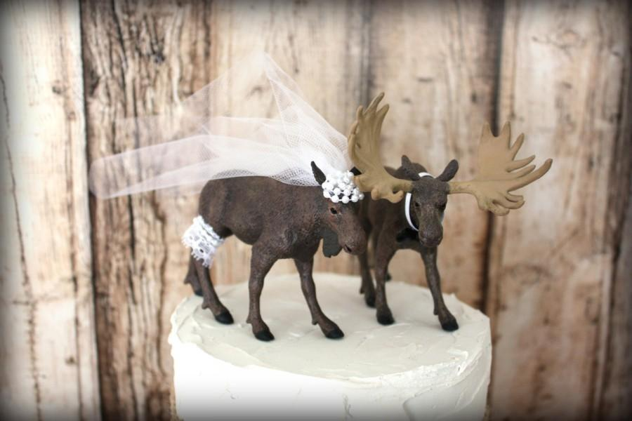 Mariage - Moose hunter wedding cake topper-Rustic wedding cake topper-rustic wedding-hunting-camouflage-wedding cake topper-western wedding-moose