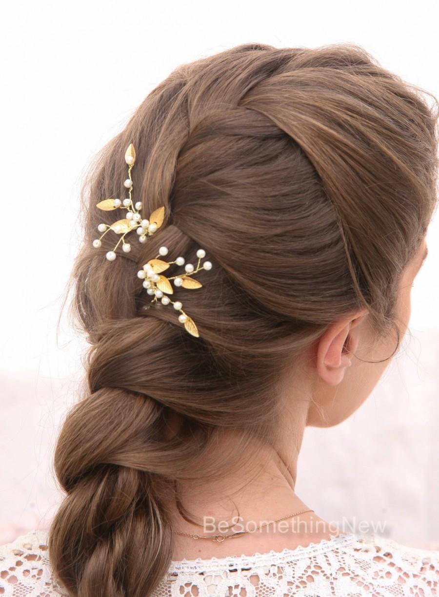 Hochzeit - Gold Leaf Bridal Hair Pins Wedding Hair Accessories, Bridal Hair Pins Pearl and Golden Leaf Bobby Pins Hair Clips Bridesmaids Hair Accessory